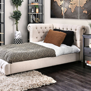 054DB Upholstered Twin Daybed in Beige - Finish: Beige<br><br>Slat Kit Included<br><br>Dimensions: 90 1/2