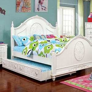 054FB Antique Style Full Bed - Finish: Off-White<br><br>**Optional Trundle**<br><br>Foundation Required<br><br>Available in Twin Size<br><br>Dimensions: 82 1/4