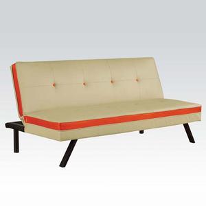 Item # 054FN Adjustable Sofa - Finish: Cream/Red<br><br>Dimensions: Sofa- 68L x 33D x 32H<br><br>Bed- 68L x 40D x 15H
