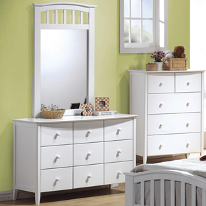 055M Mirror - Finish: White<br><br>Available in Maple & Dark Walnut<br><br>*Dresser Sold Separately*<br><br>Dimensions: 30