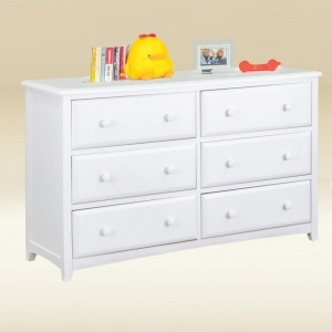 Item # 053- 1021W Six Drawer Dresser with Two Dividers in White