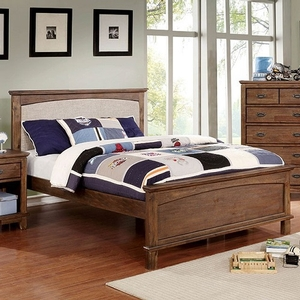 056FB Full Bed w/ Padded Headboard - Finish: Dark Oak<br><br>**Trundle Optional**<br><br>Slat Kit Included<br><br>Available in Full Size<br><br>Dimensions: 80 1/2