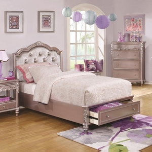 Item # 057FB Diamond Tufted Full Bed w/ Storage - Finish: Metallic Lilac w/ Metallic Lilac Leatherette<br><br>Available in White w/ Pink Leatherette<br><br>Available in Twin Size<br><br>Dimensions: 56.5W x 83.5D x 52H