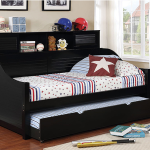 058DB Bookcase Daybed in Black - Finish: Black<br><br>Available in White<br><br>Optional Trundle<br><br>Foundation Required<br><br>Dimensions: 79 7/8