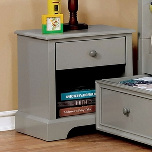 058NS Nightstand in Gray - Finish: Gray<br><br>Available in Cherry & Blue<br><br>Dimensions: 19