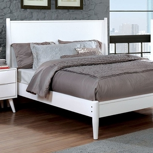 058FB Modern Full Bed in White - Finish: White<br><br>Slat Kit Included<br><br>Available in Twin Size<br><br>Available in Black Finish<br><br>Dimensions: 81 1/2