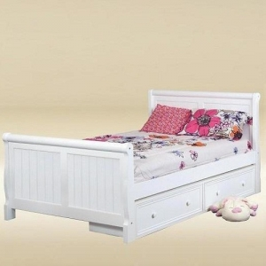 Item # 0508 Full Sleigh Bed in White - *Underbed Drawers Sold Separately*