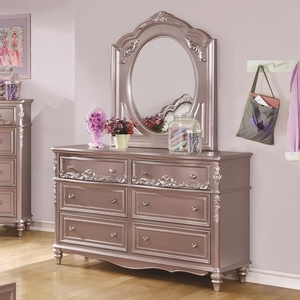 Item # 060DR 6 Drawer Dresser in Metallic Lilac - Finish: Metallic Lilac<br><br>Available in White<br><br>Dimensions: 56W x 19.25D x 36.25H