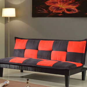 Item # 060FN Adjustable Sofa - Finish: Black/Red Microfiber<br><br>Dimensions: Sofa - 70L x 34D x 31H<br><br>Bed - 70L x 41D x 15H