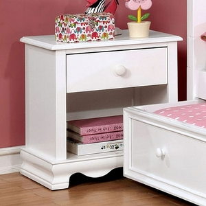 060NS Nightstand w/ 1 Drawer - Finish: White<br><br>Available in Pink Finish<br><br>Dimensions: 19