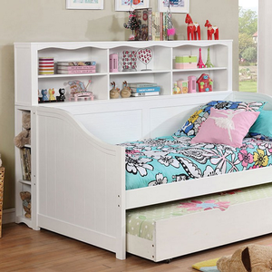 061DB Bookcase Daybed in White - Finish: White<br><br>Dark Walnut Finish or White Finish<br><br>Trundle Optional<br><br>Foundation Required<br><br>Dimensions: 77 1/2