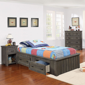 062FB Convertible Full Platform Bed w/ Storage Drawers - Finish: Gunsmoke<br><br>Available in Twin Size<br><br>Optional Conversion to Captains Bed or Captains Bed w/ Headboard<br><br>Dimensions: