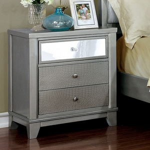 063NS 3 Drawer Nightstand - Finish: Silver<br><br>Dimensions: 59