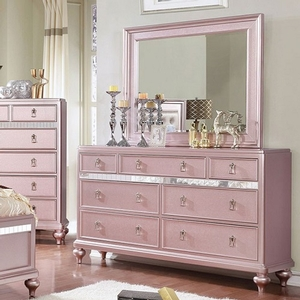 Item # 064DR Dresser w/ Mirror Accent Panels - Finish: Rose Gold<br><br>Dimensions: 64