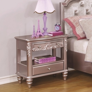 064NS Metallic Night Stand w/ 1 Drawer - Finish: Metallic Lilac<br><br>Available in White Finish<br><br>Dimensions: 24.75W  x  17.25D  x  26.25H