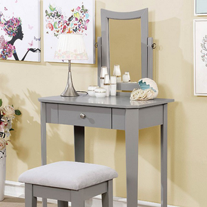 Item # 021V Classic Vanity Set in Gray - Finish: Gray<br><br>Available in White, Black or Pink Finish<br><br>