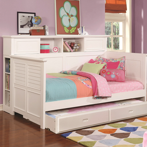 069DB Twin Bunk Bed w/ Bookcase - Finish: White<br><br>Slat Kits Included<br><br>Bookcase Add-On Sold Separately<br><br>Trundle Sold Separaretly<br><br>Dimensions: 82