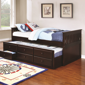 071DB Captains Daybed w/ Trundle & Drawers - Finish: Cappuccino<br><br>Available in White, Black & Cherry<br><br>Slat Kit Included<br><br>Dimensions: 79.25