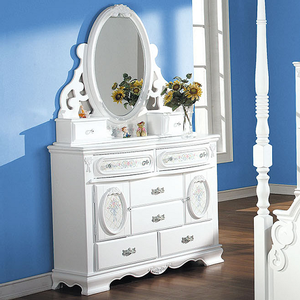 071M Antique Floral Jewelry Mirror - Finish: White<br><br>Dresser Sold Separately<br><br>Dimensions: 47