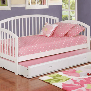 072DB Twin Slatted Daybed - Finish: White<br><br>Storage Trundle Sold Separately<br><br>Slat Kits Included<br><br>Dimensions: 79.25
