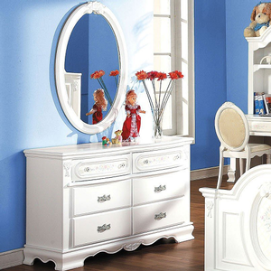 Item # 072M Oval Mirror - Finish: White<br><br>Dresser Sold Separately<br><br>Dimensions: 28