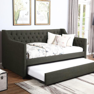 073DB Twin Upholstered Daybed w/ Trundle - Finish: Charcoal Fabric<br><br>Slat Kits Included<br><br>Dimensions: 85.50