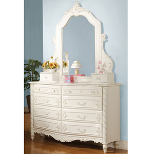 073M Jewelry Mirror - Finish: Pearl White w/ Gold Brush Accent<br><br>Dresser Sold Separately<br><br>Dimensions: 47