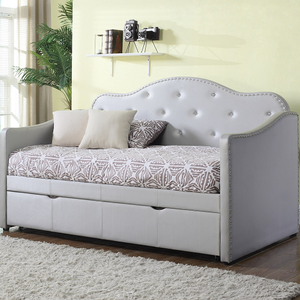 074DB Crystal Trim Daybed w/ Trundle - Finish: Pearlescent Grey Leatherette<br><br>Slat Kit Included<br><br>Dimensions: 80.25