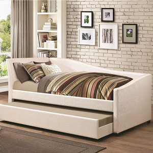 075DB Twin Daybed w/ Trundle in Ivory Leatherette - Finish: Ivory Leatherette<br><br>Slat Kits Included<br><br>Dimensions: 86