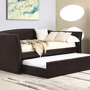 076DB Twin Leatherette Daybed w/ Trundle - Finish: Dark Brown Leatherette<br><br>Available in White<br><br>Slat Kit Included<br><br>Dimensions: 91