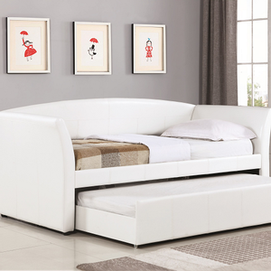 077DB Twin Leatherette Daybed w/ Trundle - Finish: White Leatherette<br><br>Available in Dark Brown Leatherette<br><br>Slat Kit Included<br><br>Dimensions: 91
