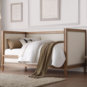 078DB Wooden Upholstered Daybed - Finish: Oak Finish w/ Cream Linen<br><br>No Box Spring Required<br><br>Dimensions: 82 x 44 x 43