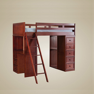 078LB Twin Loft Bed with Chest and Desk with Cork Board in Dark Pecan