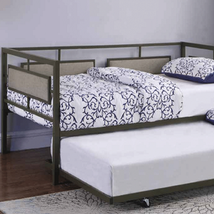 036MDB Twin Metal Daybed w/ Trundle - Finish: Black<br><br>Slat Kit Included<br><br>Dimensions: 81.75