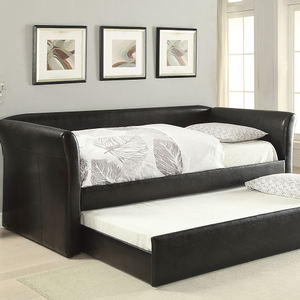 081DB Upholstered Leatherette Daybed in Black - Finish: BlacK<br><br>No Box Spring Required<br><br>Dimensions: 90 x 43 x 37