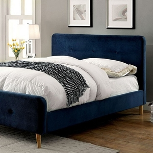082FB Upholstered Full Bed in Navy Blue - Finish: Navy Blue<br><br>Available in Gray<br><br>European Style Slat Kit Included<br><br>Available in Twin Size or Queen Size<br><br>Dimensions: 83