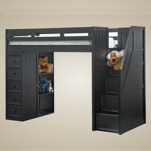 083LB Twin Loft Bed with Chest and Steps in Black