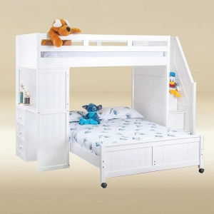 A0042TF Twin Loft Bed over Full Bottom Bed with Desk and Steps in White