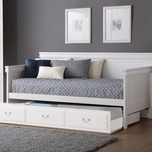 085DB White Wooden Daybed - Finish: White<br><br>Available in Black<br><br>Trundle Sold Separately<br><br>Dimensions: 82 x 42 x 39