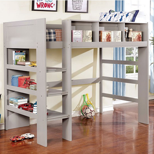 022LB Twin Loft Bed w/ Shelves in Gray - Finish: Gray<br><br>Available in White or Dark Walnut Finish<br><br>Slat Kit Included<br><br>Dimensions: 77 1/8
