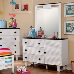 086M Two Tone Mirror - Finish: White/Dark Walnut<br><br>*Dresser Sold Separately<br><br>Dimensions: 32 1/4