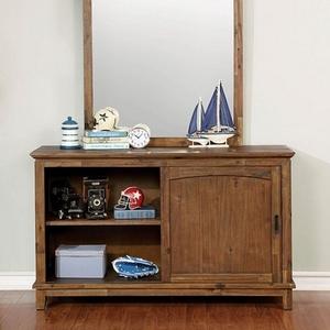 Item # 088DR Dresser w/ Sliding Shelf Door - Finish: Dark Oak<br><br>Slat Kit Included<br><br>Dimensions: 54