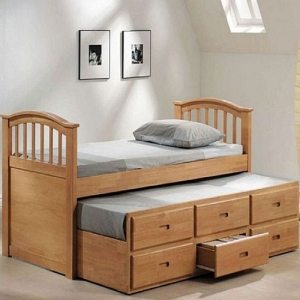 Item # A0007CPT - Twin Captains Bed<br>Available in Full Size<br>Finish: Maple<br>Dimensions: 39