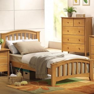 0944FB Simple Full Bed  - Finish: Maple<br><br>Available in Dark Walnut & White<br><br>No Box Spring Required<br><br>Dimensions: 79