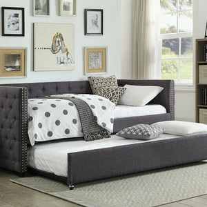 090DB Upholstered Daybed w/ Trundle  - Finish: Gray Linen<br><br>Slats System Included<br><br>Dimensions: 84