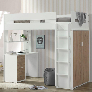 090LB Twin Loft bed in Oak/White - Finish: Oak/White <br><br>Available in Pink/White, Gray/White & Teal/White<br><br>Bunkie Board Not Required<br><br>Dimensions: 78