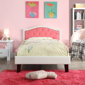 0918FB White Full Bed w/ Pink Upholstered Headboard - Finish: White / Pink<br><br>Available in White / Gray<br><br>Available in Twin Size<br><br>No Box Spring Required<br><br>Dimensions: 79
