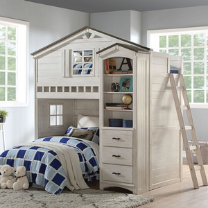 Item # 004Loft Twin Treehouse Loft Bed - Finish: Weathered White / Washed Gray<br><br>Twin Bottom Bed is Not Included**<br><br>Bookcase Cabinet Sold Separately<br><br>Slats System Included<br><br>Dimensions: 80