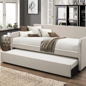 091DB Upholstered Daybed & Trundle - Finish: Beige Fabric<br><br>Slats System Included<br><br>Dimensions: 82