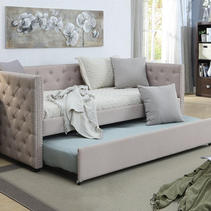 092DB Twin Daybed & Trundle in Beige - Finish: Beige<br><br>Available in Gray Linen<br><br>Slats System Included<br><br>Dimensions: 84